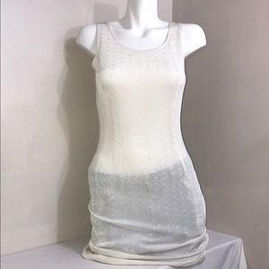 Off-White Stretchy Sleeveless Dot Jersey Bodycon